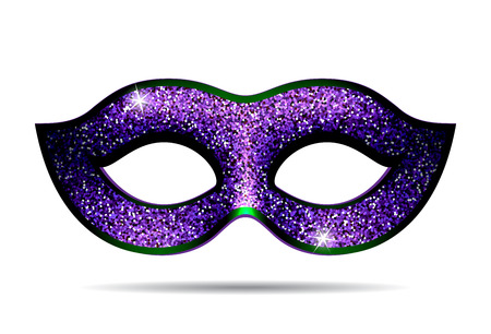 fallacy: Violet shining carnival mask for masquerade costume. Isolated on white background