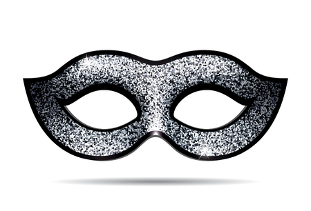 fallacy: Silver shining carnival mask for masquerade costume. Isolated on white background Illustration