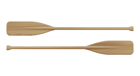 Two wooden paddles isolated on white background. Sport oars. Vector illustration.