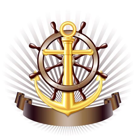 Nautische embleem met gouden anker, Stuurwiel voor het schip en lint. Marine zomer reizen banner. vector illustratie Vector Illustratie