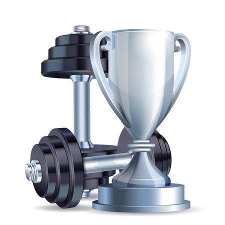 competitions: Silver cup with metal realistic dumbbells. Symbol of fitness champion. Realistic vector illustration.