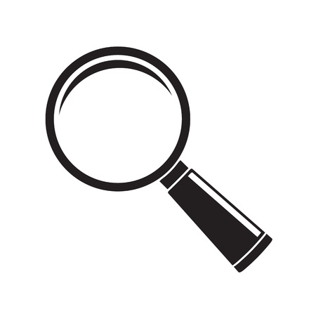 inquire: Magnifier glass icon isolated on white background. Vector illustration Illustration