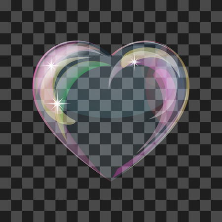 Heart-shaped transparent clean realistic soap water bubble. Vector illustration 向量圖像