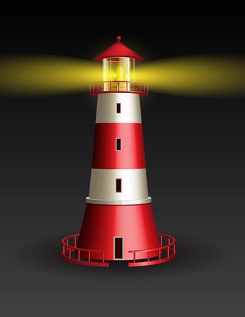 coast: Red lighthouse on black background. Vector illustration