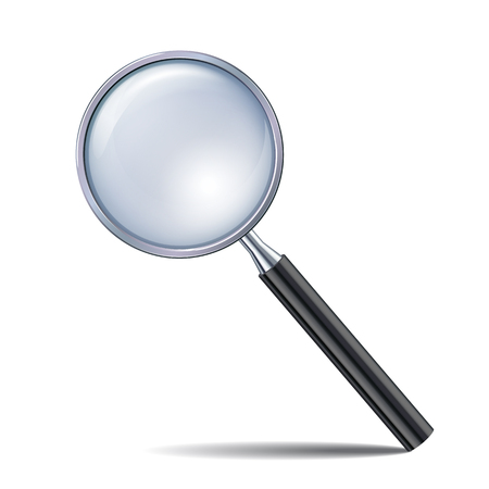 zoom: Magnifying glass isolated on white background. Vector illustration