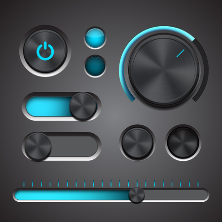 knob: Set of the detailed UI elements with knob, switches and slider in metallic style. Vector illustration