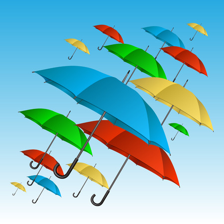 Colorful umbrellas flying high in blue sky. Vector illustration