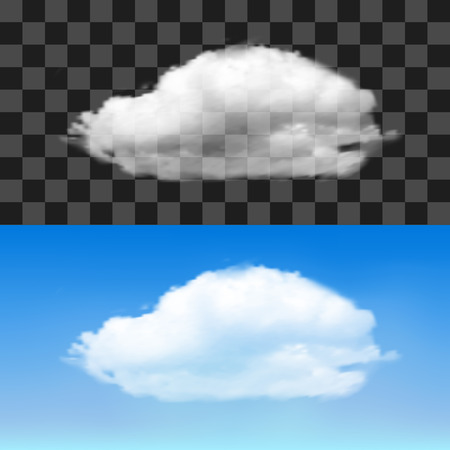 透明な背景にリアルな雲。ベクトル図