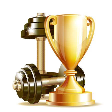 dumbell: Gold cup with metal realistic dumbbells isolated on white background. Symbol of fitness champion. Realistic vector illustration.