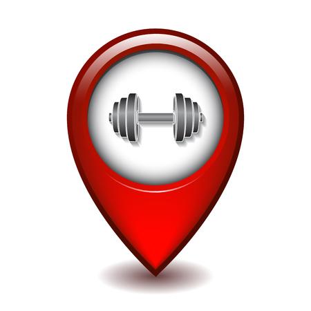 marker: Icono rojo brillante puntero del mapa con pesas. ilustración vectorial