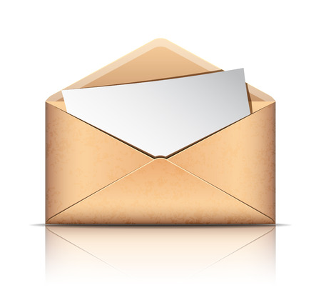 old envelope: Old envelope with blank paper, isolated on white background. Vector illustration