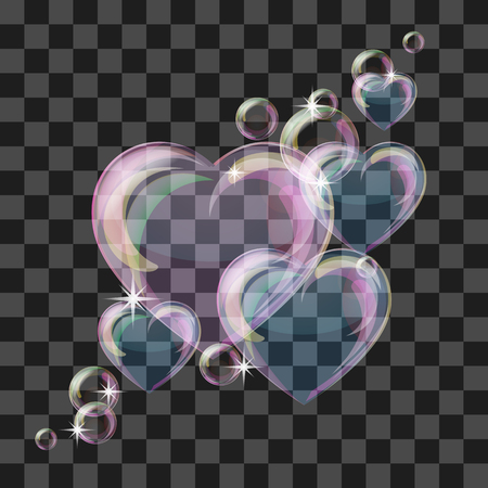 Heart-shaped transparent clean realistic soap water bubble. Vector illustration Illustration