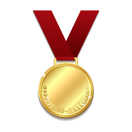 Vector gold medal on red ribbon with laurel wreath. Concept of an award for victory winning first placement achievement or quality isolated on white background. Vector illustration