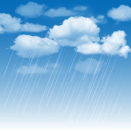 drench: Fondo de verano con nubes de lluvia y la lluvia en el cielo azul. ilustración vectorial