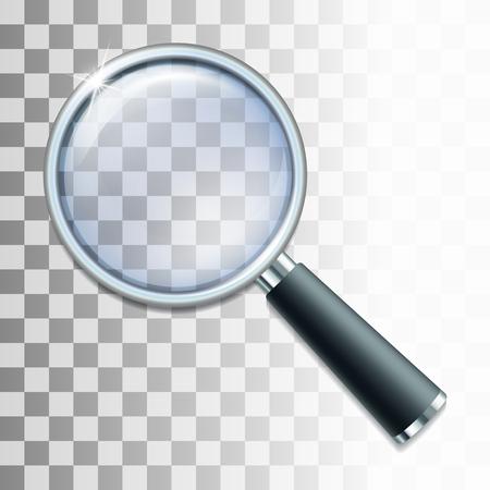 Lente d'ingrandimento su sfondo trasparente. illustrazione di vettore Vettoriali