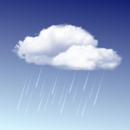 El icono del tiempo - nubes de lluvia con gotas de lluvia en el cielo azul. ilustración vectorial
