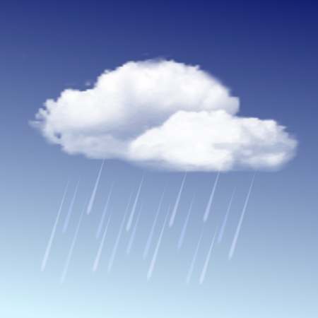drench: Weather icon - raincloud with raindrops in the blue sky. Vector illustration
