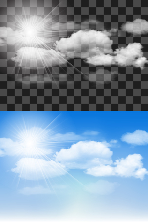 Blue sky with transparent different clouds. Vector background. Illustration