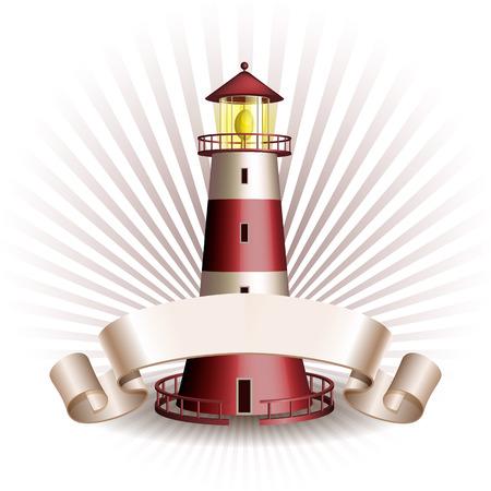 Nautisch embleem met rode vuurtoren en lint. Marine zomer reis banner. Vector illustratie