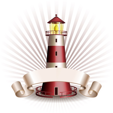 Nautical emblem with Red lighthouse and ribbon. Marine summer travel banner. Vector illustration