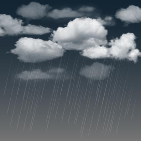 Fondo de verano con nubes de lluvia y la lluvia en el cielo oscuro. ilustración vectorial Vectores