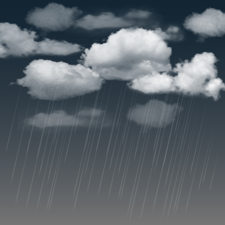 raincloud: Summer background with rainclouds and rain in the dark sky. Vector illustration