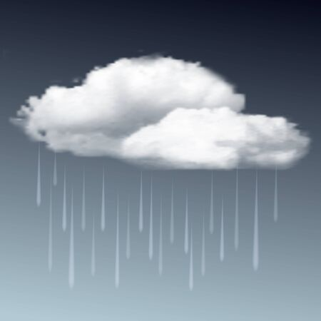 raincloud: Weather icon - raincloud with raindrops in the dark sky. Vector illustration