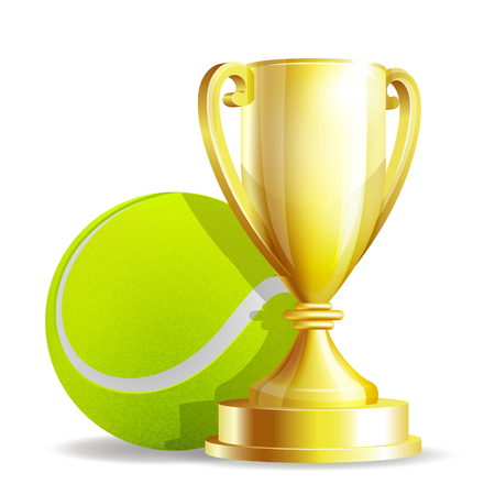 tournament: Golden trophy cup with a Tennis ball isolated on white background. Vector illustration Illustration