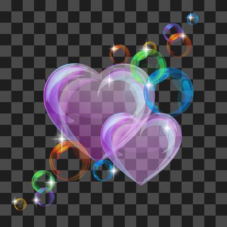 crystal background: Shiny bubble heart Stock Photo