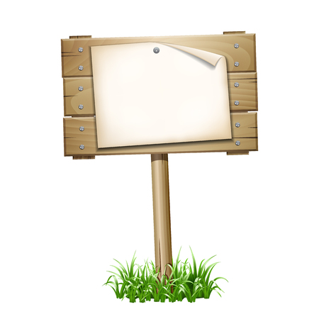 wooden post: Empty paper blank on wooden signboard