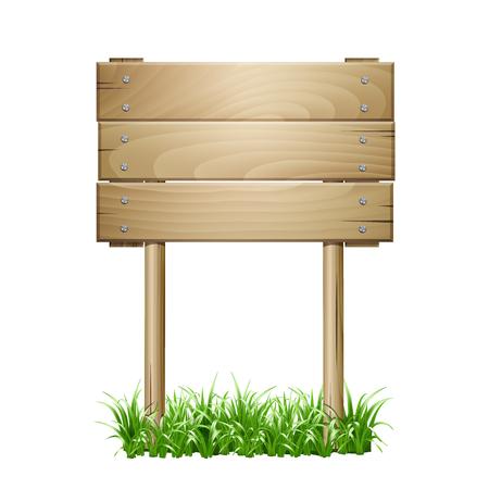 wooden post: Wooden signboard in a grass.