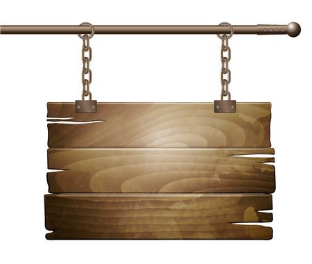 wooden post: Vector wooden board sign
