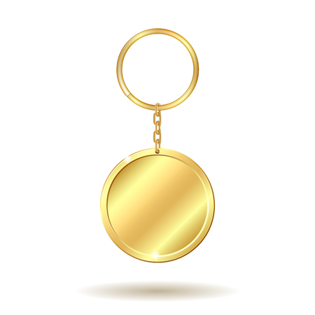 Realistic template metals golden keychain circle shape. Vector illustration.