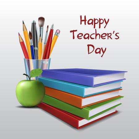 literacy: Teacher s Day vector card.