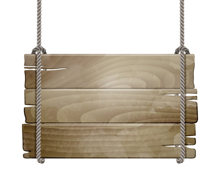 wooden post: Wooden board sign hanging on a rope