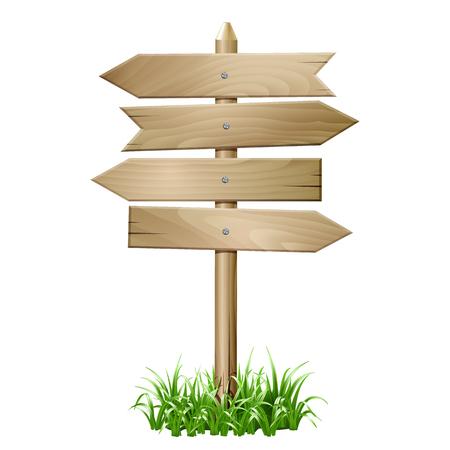 草の木製看板。  イラスト・ベクター素材