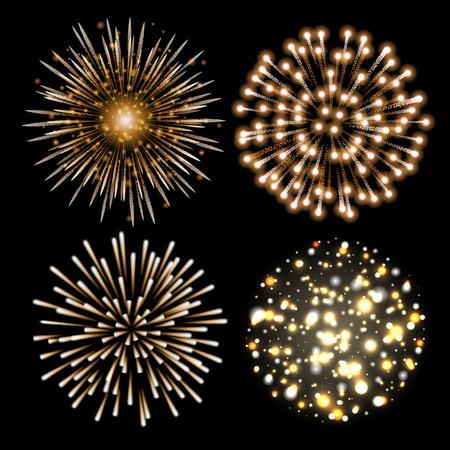 Set of golden fireworks. Set of festive patterned salute bursting in various shapes against black background.