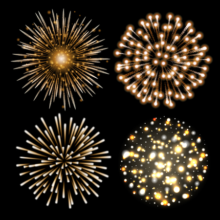 Set of golden fireworks. Set of festive patterned salute bursting in various shapes against black background.