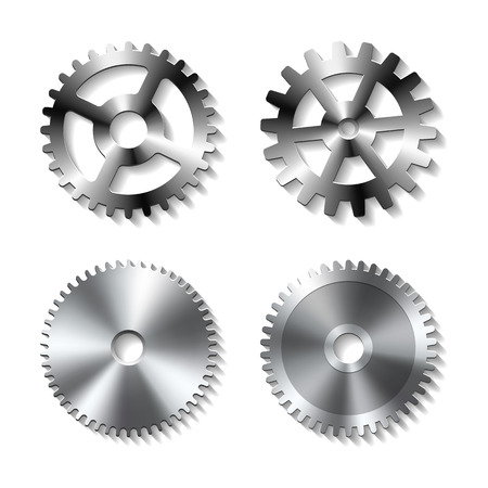 Set of realistic metal gears on white background, vector illustration.
