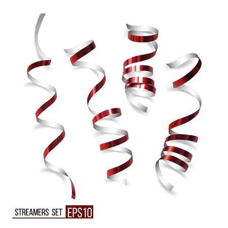 Festive red ribbons on white background; Realistic vector streamers; Carnival party serpentine decoration for your banner and greeting card design.
