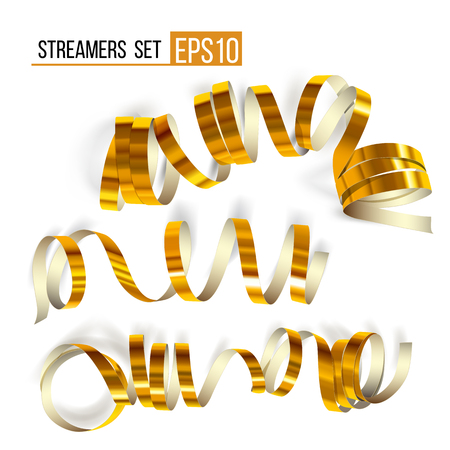 Set of gold streamers on white background. Golden curly ribbons, Celebration decoration, serpentine party elements for your holiday design birthday, festive carnival or party greeting.