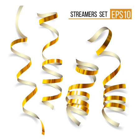 Set of gold streamers on white. Golden Curly ribbons, Celebration decoration, Serpentine party elements for your holiday design birthday, festive carnival or party greeting. Illustration