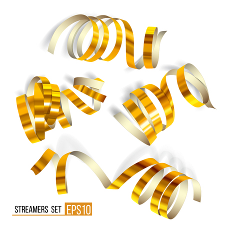 Set of gold streamers on white. Golden Curly ribbons, Celebration decoration, Serpentine party elements for your holiday design birthday, festive carnival or party greeting. Vector illustration EPS10. Illustration