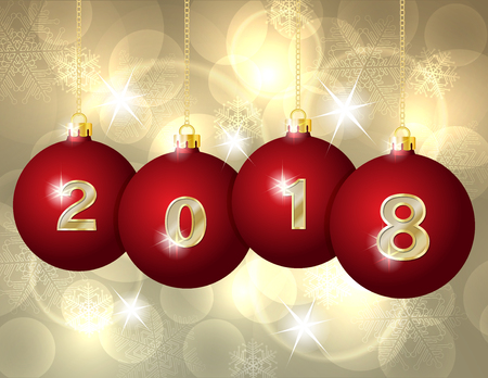 Happy New Year 2018 design. Vector greeting illustration with golden numbers on Red Christmas Balls Hanging on Golden Chains.