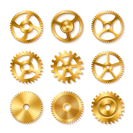 Set of realistic golden gears on white background, vector illustration.