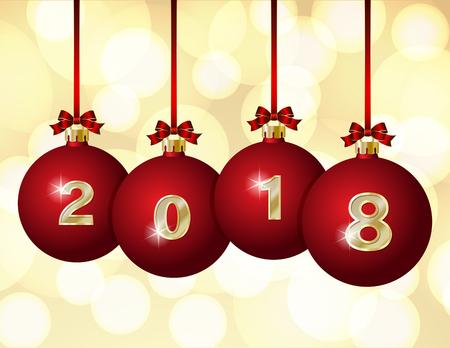 Glass Christmas balls 2018, vector illustration.