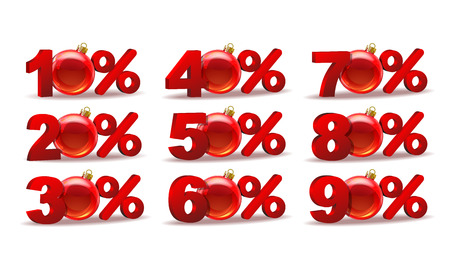 Set of different percent discount sale icons with Glass Christmas Balls. Vector illustration isolated on white background Illustration