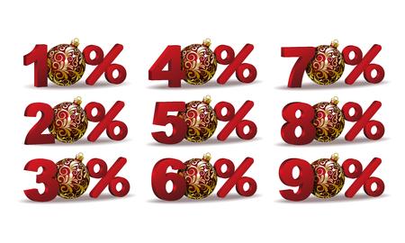 Set of percent discount sale icons Ilustração