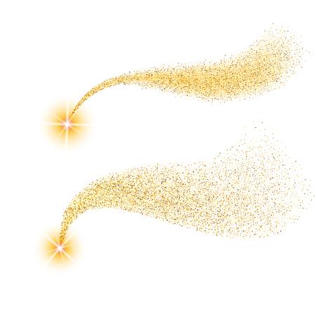 Vector golden sparkling comet