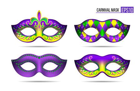 Set of Mardi gras masks Illustration